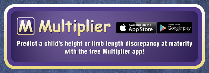 Predict a child's height or limb length discrepancy at maturity with the free Multiplier app!