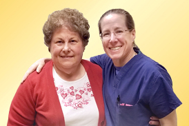 Sue standing with Dr Janet Conway