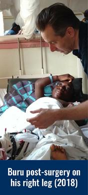 Buru post-surgery on his right leg in 2018