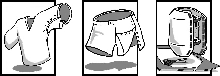 Illustrations of clothing modifications and an external fixator cover