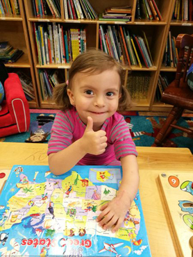 Anicka giving a thumbs up sign after her cast was removed