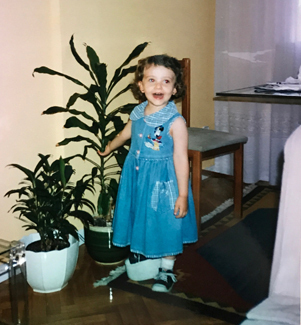 Katia as a young girl at her first lengthening with a large shoe lift