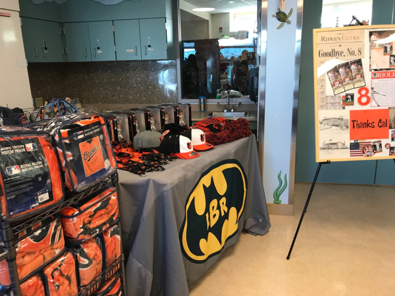 Baltimore Orioles blankets, bobble heads, hats and other gifts from Cal Ripken's visit to the Herman & Walter Samuelson Children