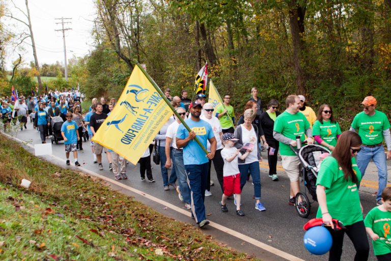 Earl Cole the winner of Survivor: Fiji reality television show and founder of Perthes Kids Foundation, holds Save-A-Limb flag among dozens of participants during the family fun walk at Rubin Institute for Advanced Orthopedics 2017 Save-A-Limb Fund Event