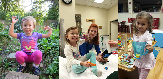 Three pictures of a young girl; the first is before treatment when she is squatting outside with her arms raised and her club hand is evident; the second is her smiling while holding out her arm in an external fixator in a physical therapy room with her mother, and the third shows her smiling holding a toy pitcher using her corrected hand after treatment.