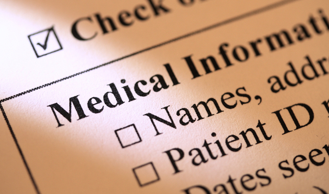 Closeup of medical record form