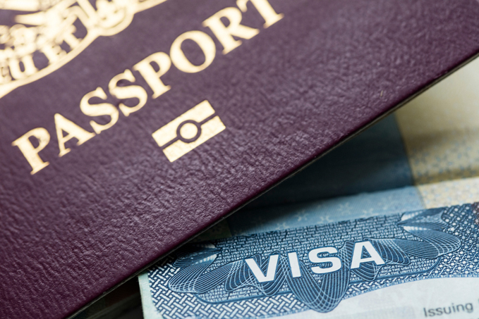 VISA document and an immigration passport