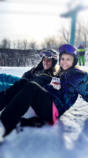 Emily skiing with a friend