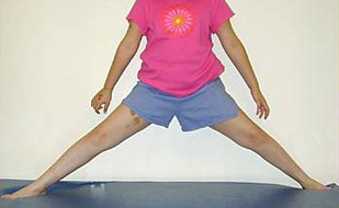 Patient demonstrating the hip abduction exercise for Perthes