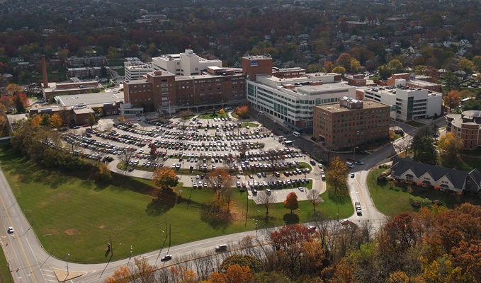 Aerial view of cars in the parking lot of Sinai Hospital of Baltimore