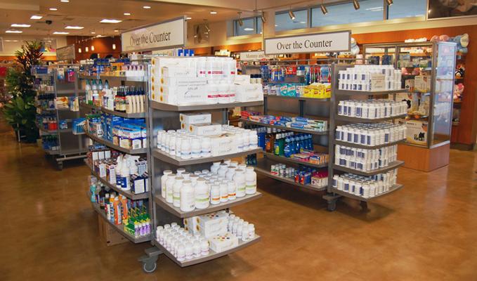 Medication on shelves inside Sinai Hospital's pharmacy