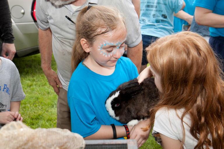 A young girl patient holding the petting zoo rabbit