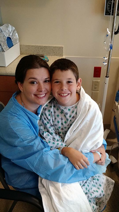 Jackson and his mom waiting for surgery