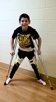 Jackson on crutches during treatment
