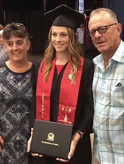 Rachael at graduation for her Bachelors of Science in Nursing degree
