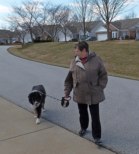 Sharon walking her dog post-surgery