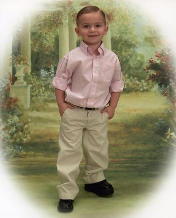 Portrait of Matt wearing a shoe lift when he was 3 years old