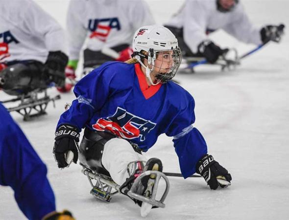 Brooklynn playing in a para-ice hockey match