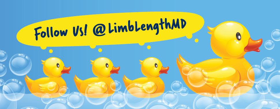 Cartoon ducks with bubbles and a speech bubble that says 'Follow Us @ LimbLengthMD'