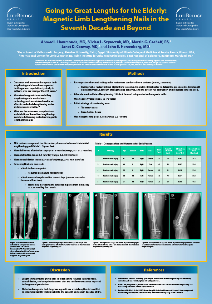 Research poster presented at the ILLRS and ASAMI Congress and 3rd World Ortho ReCon Meeting in Lisbon, Portugal in August/September 2017 - Going to Great Lengths for the Elderly - Motorized Intramedullary Nail Lengthening in the Seventh Decade and Beyond
